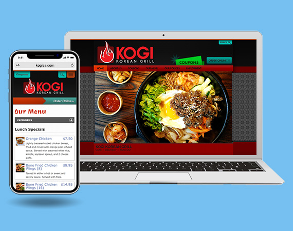 Laptop and phone with browser window open to kogi website.